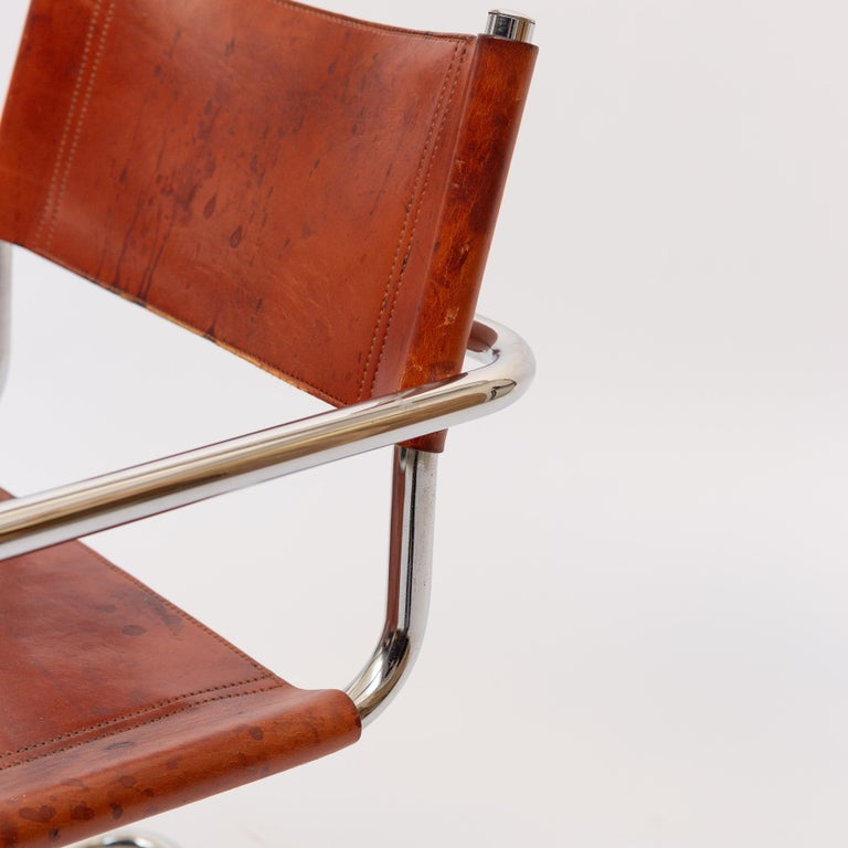 MG5 Cognac Leather Chair by Marcel Breuer for Gavina For Sale 7