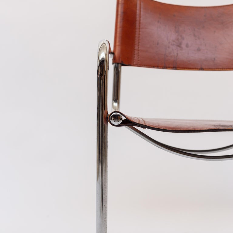 MG5 Cognac Leather Chair by Marcel Breuer for Gavina For Sale 9