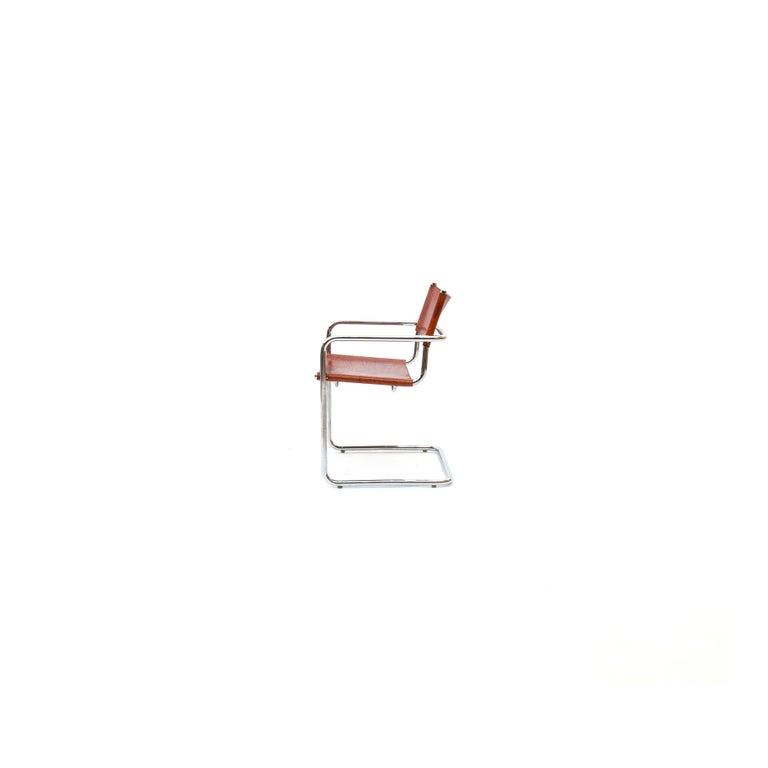 Mid-Century Modern MG5 Cognac Leather Chair by Marcel Breuer for Gavina For Sale