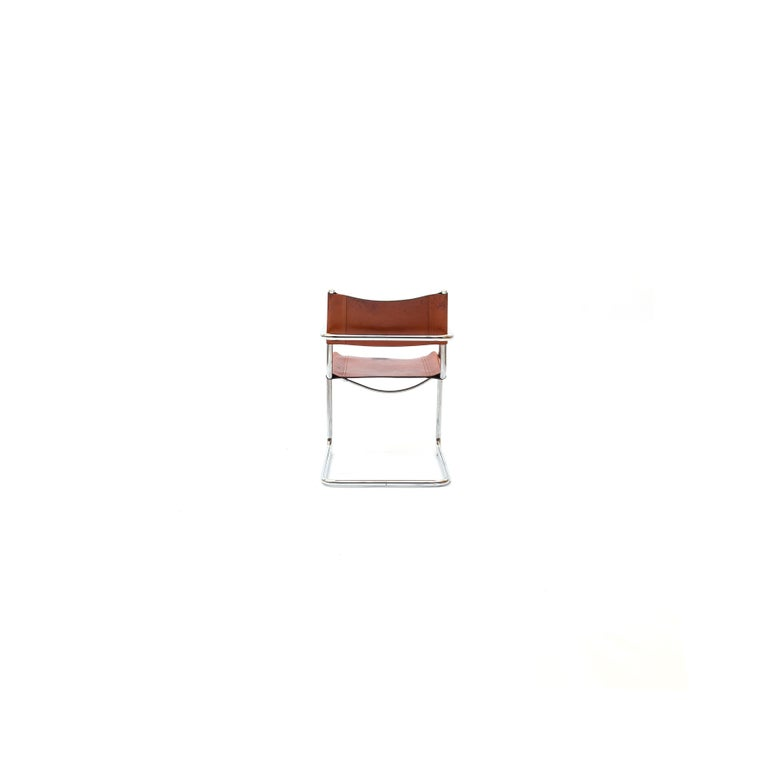 Italian MG5 Cognac Leather Chair by Marcel Breuer for Gavina For Sale