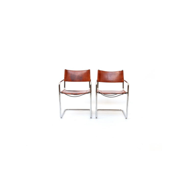 MG5 Cognac Leather Chair by Marcel Breuer for Gavina For Sale 1