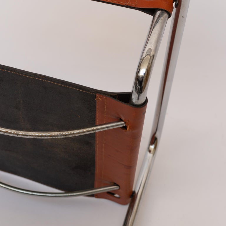 MG5 Cognac Leather Chair by Marcel Breuer for Gavina For Sale 2