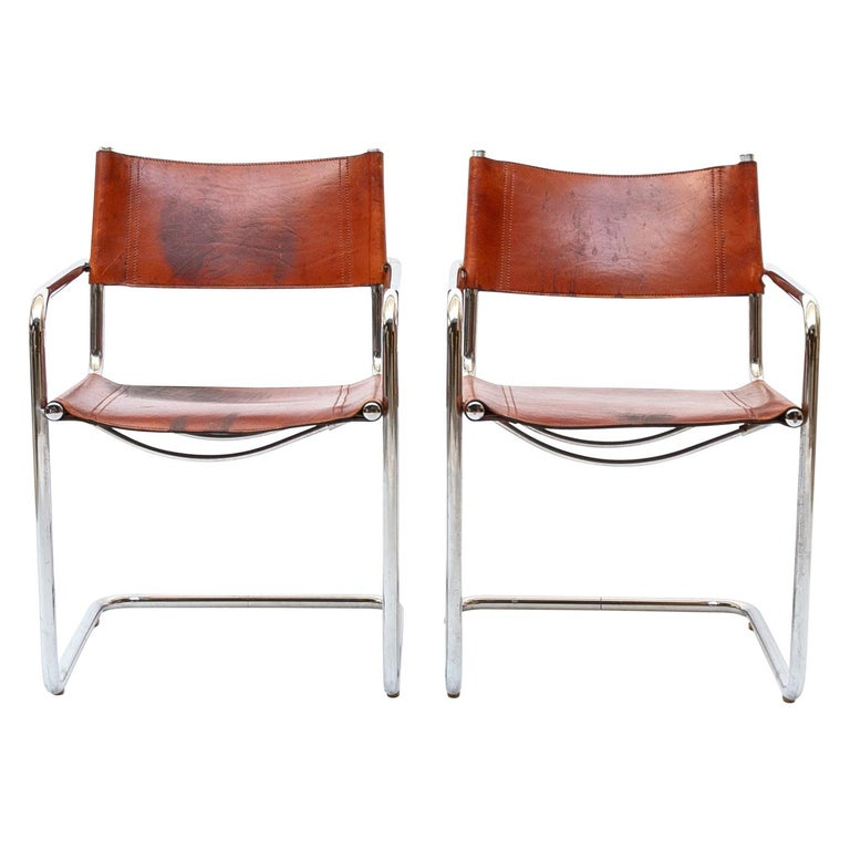 MG5 Cognac Leather Chair by Marcel Breuer for Gavina For Sale