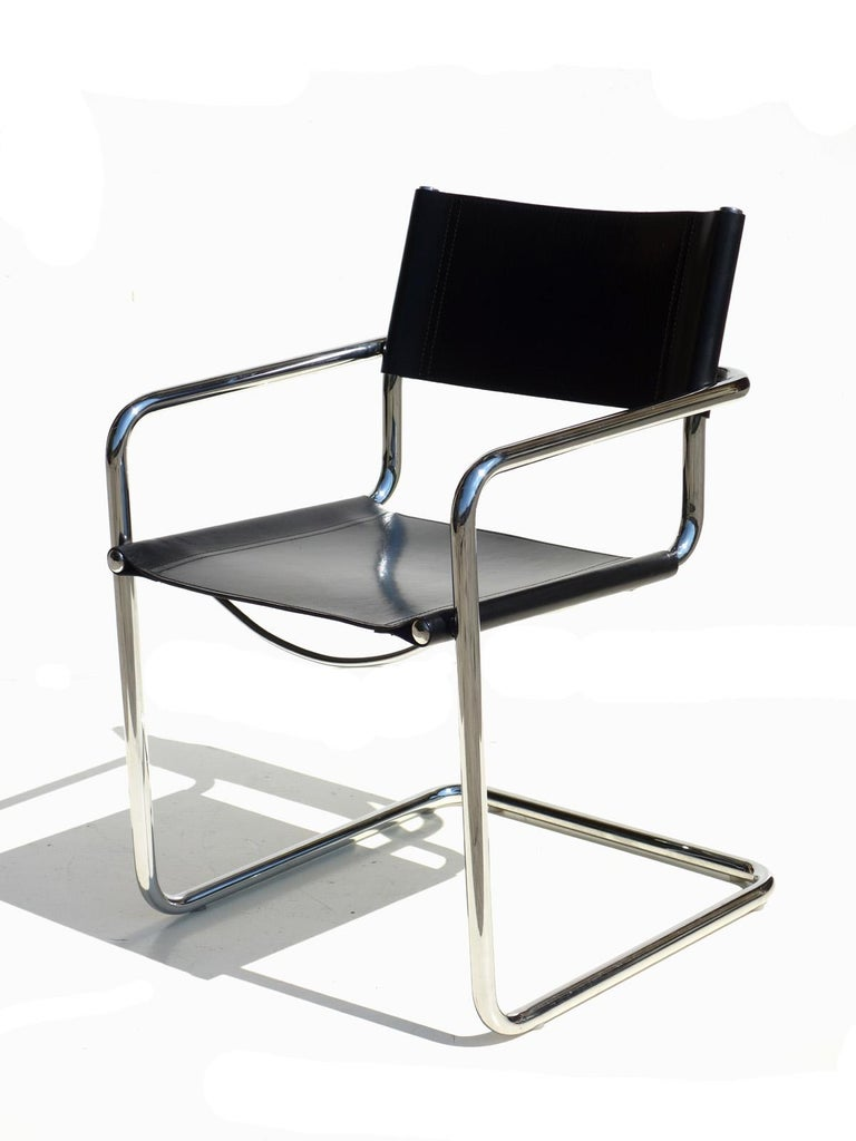 MG5 by Matteo Grassi, 1970. Black leather and chrome and tubular steel with chrome plating.