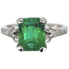 MGL 2.83ct Colombian Emerald Diamonds Ring, Platinum
