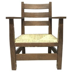 MH Baillie Scott Arts & Crafts Oak Armchair Made by J P White's Pyghtle Works