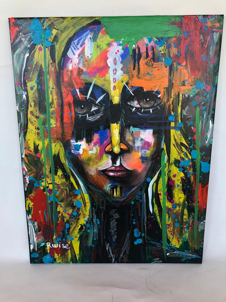 Abstract face, acrylic on canvas by Mexican artist Rodrigo wise. Signed bottom left.