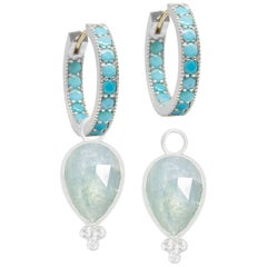 Mia Aquamarine Charms and Intricate Turquoise Silver Hoop Earrings
