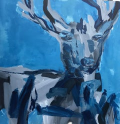 Buck in Blue by Mia Frandsen, Abstracted Mixed Media on Canvas Animal Painting