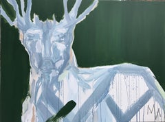 Green Buck by Mia Frandsen, Mixed Media on Canvas Abstracted Animal Painting