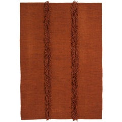 Mia Medium Brick Hand-Loomed Wool Dhurrie Rug by Nani Marquina in Stock