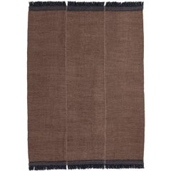 Mia Medium Brown Hand-Loomed Wool Dhurrie Rug by Nani Marquina in Stock
