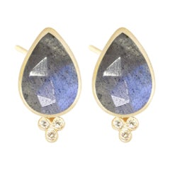 Mia Small Labradorite 18 Karat Gold Stud Earrings