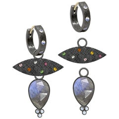 Mia Small Labradorite Charms and Florentine Oxidized Hoop Earrings