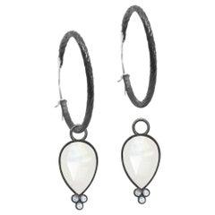 Mia Small Moonstone Oxidized Earrings
