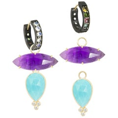 Mia Small Turquoise Charms and Intricate Oxidized Reversible Huggies Earrings