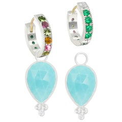 Mia Turquoise Charms and Intricate Silver Reversible Huggies Earrings