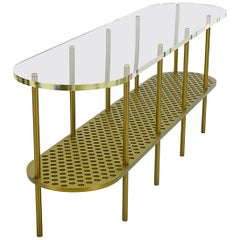 Miami Console in Gold Anodized Aluminum and Polished Acrylic by Jonathan Nesci