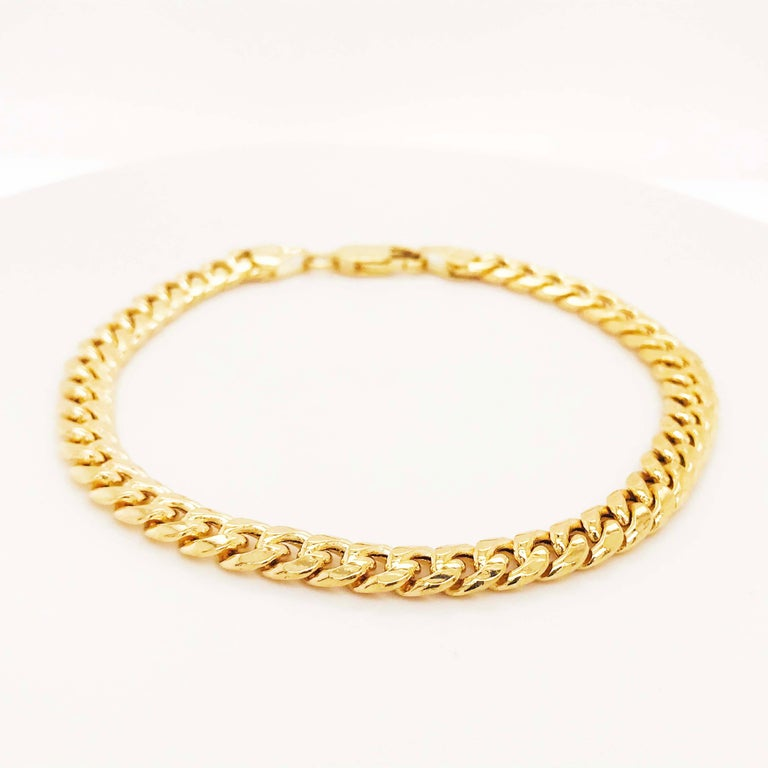 Miami Cuban Chain Bracelet 14 Karat Yellow Gold Men's and Women's Chain Bracelet In New Condition For Sale In Austin, TX