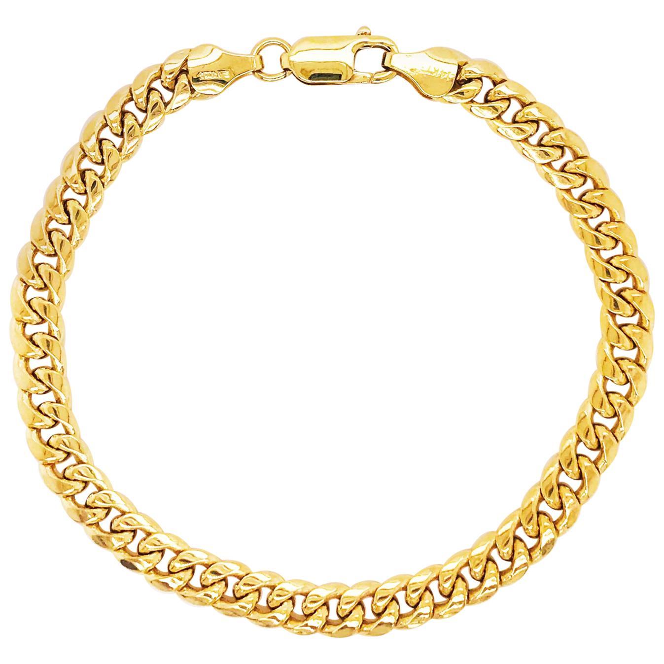 Miami Cuban Chain Bracelet 14 Karat Yellow Gold Men's and Women's Chain Bracelet