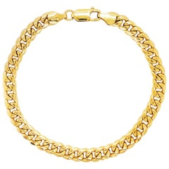 Miami Cuban Chain Bracelet 14 Karat Yellow Gold Men's and Women's Chain Bracelet