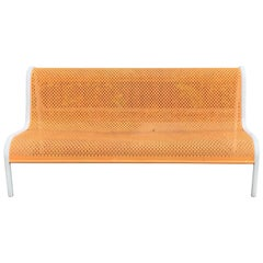 Miami Modern Wrought Iron Sculptural Long Bench