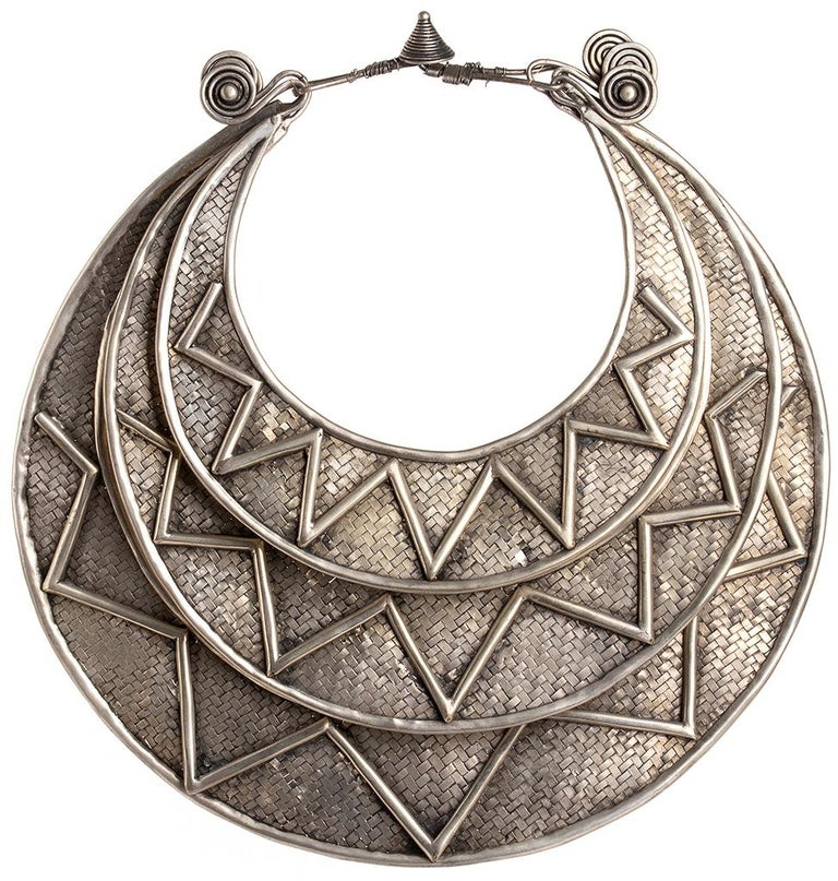 Miao Paktong Ceremonial Necklace, Laos, Early 1900 In Good Condition For Sale In Roma, IT
