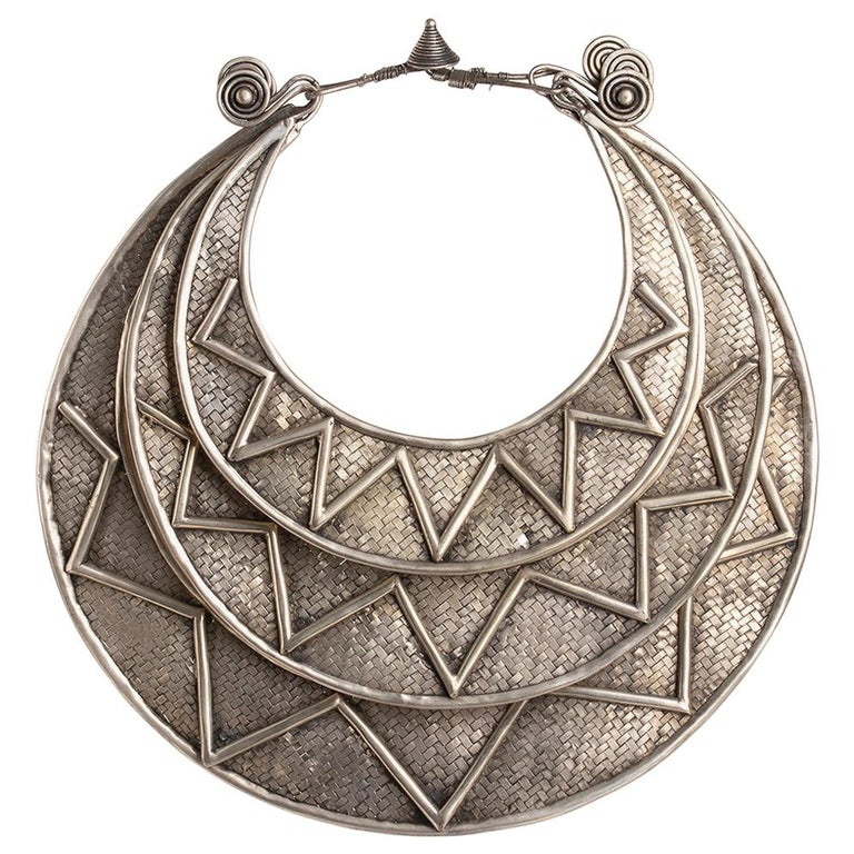 Miao Paktong Ceremonial Necklace, Laos, Early 1900 For Sale