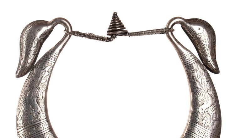 Laotian Miao Silver Ceremonial Ceremonial Necklace, Laos, Early 20th Century For Sale