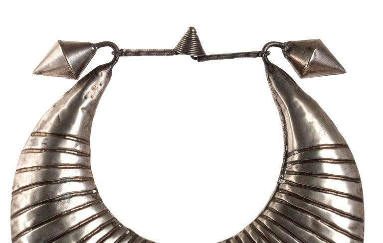 Laotian Miao Silver Ceremonial Necklace, Laos, Early 20th Century For Sale