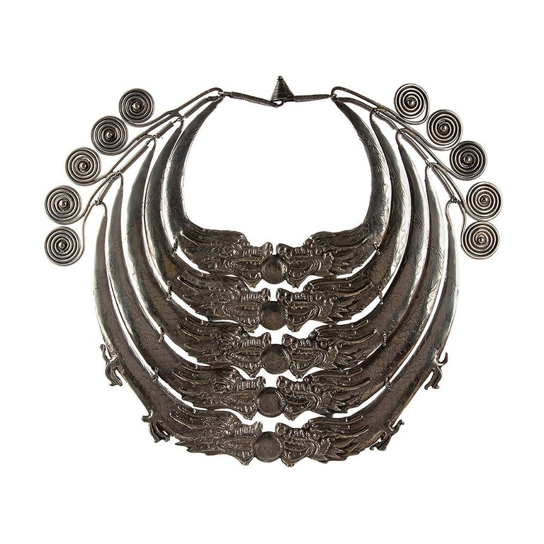 Miao Silver Ceremonial Necklace, Laos, Early 20th Century For Sale