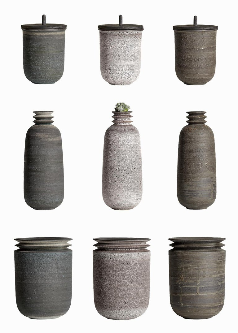 Contemporary Mica Ore, Vessel O, Slip Cast Ceramic Vase, N/O Vessels Collection For Sale