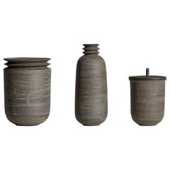Mica Ore, Vessels, Set of 3, Slip Cast Ceramic, N/O Vessels Collection
