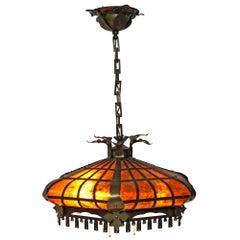 Mica Shade Tudor Revival Pendant Light