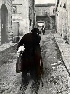 Vintage Silver Gelatin Print Rabbi, Jerusalem Alley Israeli Judaica Micha Bar-Am