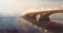 Battersea Bridge, Chelsea - Original Cityscape Oil Painting Contemporary Art