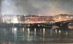 Battersea Bridge towards chelsea original city landscape painting