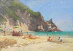 Beach Day - original landscape figurative painting Contemporary modern Art