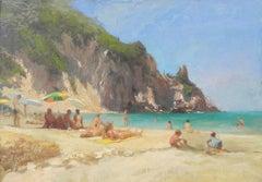 Beach day - original landscape painting Contemporary modern Art
