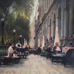 Conversation original city landscape painting Contemporary Impressionism Art