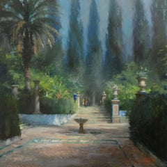 Gardens of the Alcazar, Seville - original landscape painting modern art 21st C