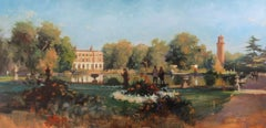 Kew Gardens, Late Summer Evening - original figurative painting 21st C landscape