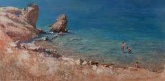 Late Season, Nikolaki - original beach landscape painting 21st C modern water