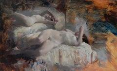 L'Heure Exquise - original figurative oil painting contemporary art 21st Century