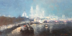 Nightfall, St Paul's - original landscape city painting 21st C modern buildings