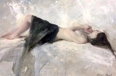 Nude & Blue linen - Original Figurative Impressionism Oil Painting Modern Art