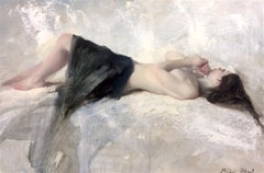 Nude Blue linen Original Figurative Impressionism painting Contemporary Art 21