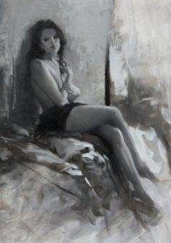 Nude, B&W Autumn I - original figurative painting Contemporary Art