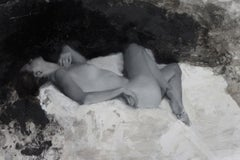 Nude, B&W Autumn III - original figurative painting Contemporary Art