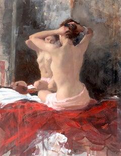 Nude Hair Arrangement - female figurative oil painting 21st C contemporary art